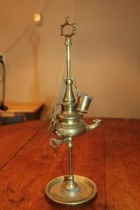 ANTIQUE BRASS 3 BURNER WHALE OIL LAMP WITH TOOLS