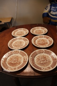 LOT OF 6 BROWN TRANSFERWARE PLATES