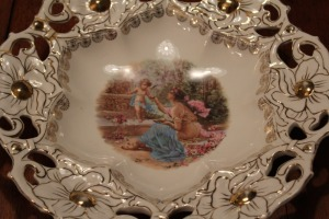 ANTIQUE ORNATE HAND-PAINTED BOWL