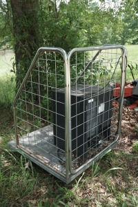 36 IN BY 36 IN ROLLING STAINLESS CART WITH STUDENT SIZE FRIDGE INCLUDED