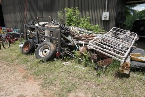 4 BY 8 TRAILER AND ALL SCRAP METAL, ALSO INCLUDES PLASTIC TRUCK TOOL BOX