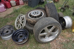 SET OF 10 MISCELLANEOUS AND RANDOM SIZE WHEELS AND TIRES FOR VEHICLES AND MOTORCYCLES