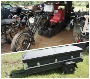 "CUSTOM MADE THREE WHEEL ""GHOST RYDER"" & MATCHING COFFIN TRAILER"