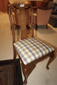 SOLID WOOD DINING SIDE CHAIR WITH PLAID UPHOLSTERY - DIN