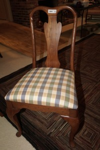 SOLID WOOD DINING SIDE CHAIR WITH PLAID UPHOLSTERY, MATCHES 1003 - DIN
