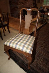 SOLID WOOD DINING SIDE CHAIR WITH PLAID UPHOLSTERY, MATCHES 1004 - DIN
