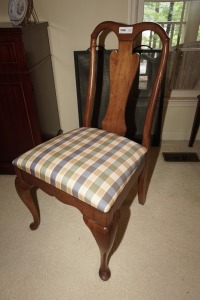 SOLID WOOD DINING SIDE CHAIR WITH PLAID UPHOLSTERY, MATCHES 1005 - DIN
