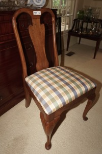SOLID WOOD DINING SIDE CHAIR WITH PLAID UPHOLSTERY, MATCHES 1006 - DIN