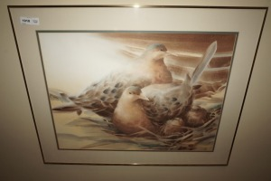 FRAMED, MATTED, AND SIGNED ART PRINT, BIRDS IN NEST, SHIRLEY PORTER - LIV