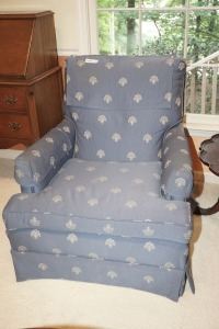 FORMAL COMPACT BLUE CLUB CHAIR, MATCHES 1016 - LIV