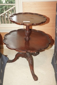 VINTAGE DOUBLE TIER PIE CRUST OCCASIONAL TABLE - LIV