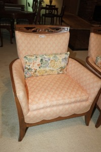 VINTAGE COMPACT UPHOLSTERED CLUB CHAIR WITH CARVED WOOD BACKREST FRAME, MATCHES 1018 - LIV