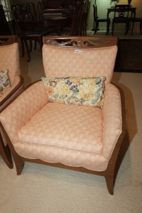 VINTAGE COMPACT UPHOLSTERED CLUB CHAIR WITH CARVED WOOD BACKREST FRAME, MATCHES 1017 - LIV