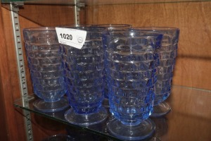 VINTAGE BLUE GLASS FOOTED ICED TEA TUMBLERS, 6 PIECES - LIV