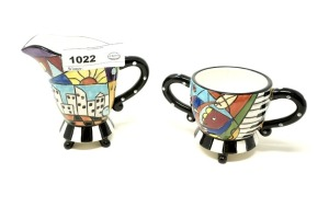 STUDIO DESIGNWORKS HAND-PAINTED CHINA CREAM AND SUGAR - LIV
