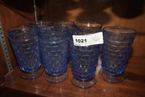 VINTAGE BLUE GLASS FOOTED ICED TEA TUMBLERS, 7 PIECES - LIV
