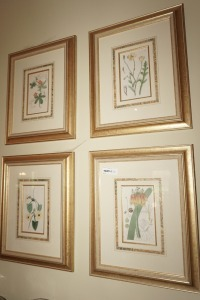 FOUR CLASSIC FRAMED AND MATTED FLORAL ART PRINTS - DIN