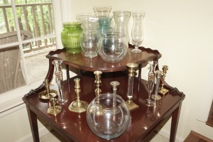 VASES, BRASS CANDLESTICKS, AND CRYSTAL BUD VASES - DIN