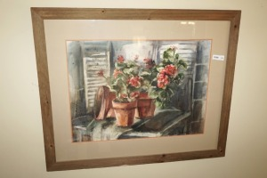 "LARGE FRAMED, MATTED, AND SIGNED FLORAL ART, SIGNED ""SIMMONS '72"" - DIN"