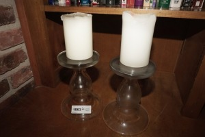 PAIR OF LARGE HEAVY CLEAR GLASS DECORATIVE CANDLESTICKS AND CANDLES - DEN