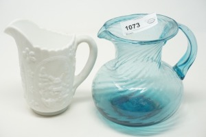 ORNATE MILK GLASS AND ART GLASS PITCHERS - DEN