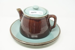 SIGNED POTTERY PLATES AND PITCHER - DEN
