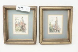 PAIR OF SMALL FRAMED ART PRINTS, WESLAYAN AND MERCER - DEN
