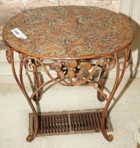 SMALL ORNATE STAMPED METAL OCCASIONAL TABLE - DEN
