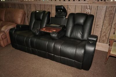 MODERN POWER RECLINING SOFA WITH ADJUSTABLE HEADRESTS, USB PORT, POWER OUTLETS, LIGHTED HEADREST, AND LIGHTED CUP HOLDERS