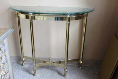 HALF MOON GLASS TOP BRASS ENTRYWAY TABLE