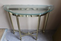 HALF MOON GLASS TOP BRASS ENTRYWAY TABLE - 2