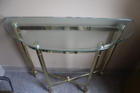 HALF MOON GLASS TOP BRASS ENTRYWAY TABLE - 3