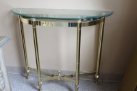 HALF MOON GLASS TOP BRASS ENTRYWAY TABLE - 4