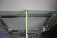 HALF MOON GLASS TOP BRASS ENTRYWAY TABLE - 5