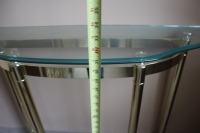 HALF MOON GLASS TOP BRASS ENTRYWAY TABLE - 7