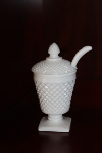 VINTAGE MILK GLASS PEDESTAL JAM DISH WITH SPOON