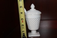 VINTAGE MILK GLASS PEDESTAL JAM DISH WITH SPOON - 6