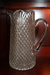 TALL VINTAGE GLASS PITCHER