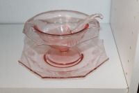 THREE PIECES OF VINTAGE PINK DEPRESSION GLASS - 3