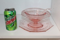 THREE PIECES OF VINTAGE PINK DEPRESSION GLASS - 5