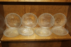 LOT OF 8 SWIRL GLASS SALAD PLATES