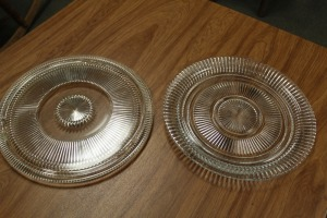 LOT OF 2 GLASS SERVING PLATTERS