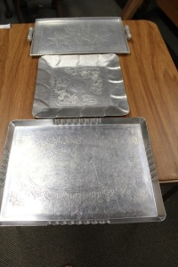 LOT OF 3 VINTAGE ALUMINUM SERVING TRAYS