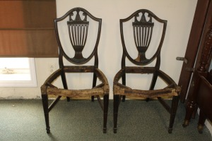 2 ANTIQUE 1800'S ENGLISH SHERATON STYLE CHAIRS