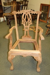 VINTAGE HAND CARVED ENGLISH 1800'S STYLE DINING ROOM ARM CHAIR