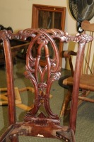 VINTAGE HAND CARVED ENGLISH 1800'S STYLE DINING ROOM CHAIR - 2
