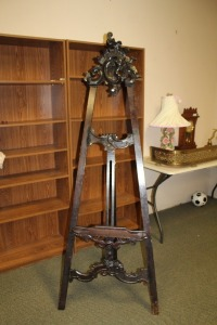 ANTIQUE BEAUTIFUL TALL WOODEN ORNATE CARVED ARTIST EASEL ART DISPLAY