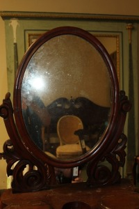 ANTIQUE MAHOGANY DRESSER TOP MIRROR WITH STORAGE