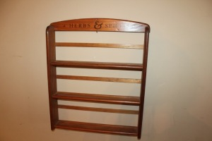 VINTAGE WOODEN HERBS AND SPICES RACK
