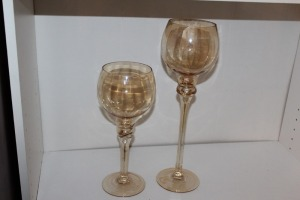 PAIR OF LARGE DECORATIVE CANDLE HOLDERS